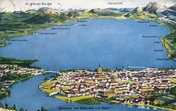 Old postcard from Constance an the lake